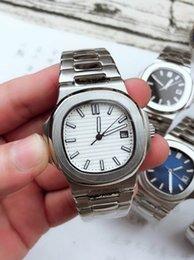 Venta al por mayor de Reloj automático superior de lujo para hombres y mujeres 5711 Correa plateada Reloj de acero inoxidable azul Reloj impermeable para hombres y mujeres Reloj de negocios