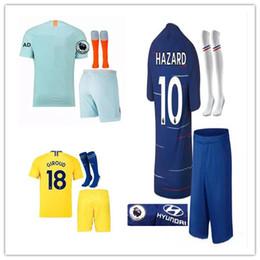 Top quality Adult kits+sock HAZARD JORGINHO soccer jersey 2018 2019 KANTE  MORATA GIROUD DAVID LUIZ BAKAYOKO RUDIGER 18 19 football kit a43c29c17