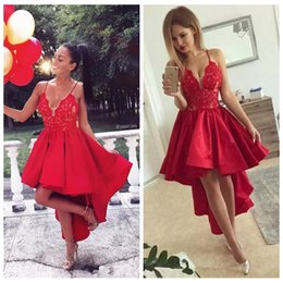 Black dress white strips online shopping - Red Sexy Spaghetti Strips A Line Lace Appliques Homecoming Dresses Hihg Low Customized Hi Lo Short Junior Graduations Party Gowns