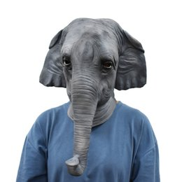 elephant cosplay Australia - Halloween Costume Masquerade Party Elephant Full Head Mask Animal Cosplay Latex Realistic Breathable Carnival Props