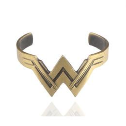 China Wonder Woman Bracelet W Logo Open Bracelets Bangle Cuff Fashion Jewlery Cosplay for Women Kids Cosplay Valentine Gift 162363 supplier wholesale kids valentine gifts suppliers
