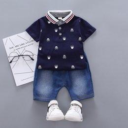 $enCountryForm.capitalKeyWord Australia - Baby Clothes Boys Clothes Casual Short Sleeve Floral Print T-shirt Tops+Denim Shorts kids Set #25A