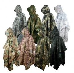 Camouflage Camping gear online shopping - Camouflage Poncho Raincoat Colors Outdoor Waterproof Military Camping Hunting Ground Mat Rain Coat Men Women Rain Gear OOA6173
