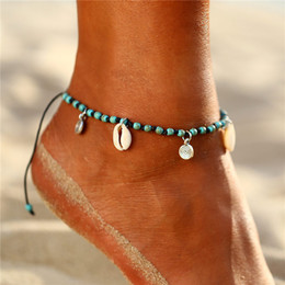 copper anklets NZ - New Arrival Bohemia Jewelry Footchain Nature Conch Shell Pendant Alloy Charm Nature Stone Beaded Anklet Adjustable Ankle