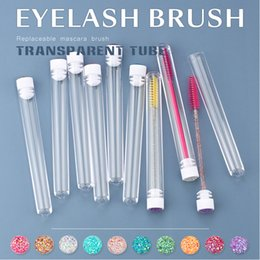 wholesale eyelashes transparent NZ - Eyelash Extender Disposable Eyebrow Brush Transparent Tube Design Charming Diamond Bottom Mascara Stick Applicator Makeup Tool Make Up Brush