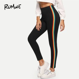 $enCountryForm.capitalKeyWord NZ - Rainbow Side Leggings Skinny Fitness Great Women Ankle Length Leggings Sexy Stylish Stretchy Black Striped