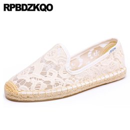 White Cotton Slips Australia - Espadrilles Casual Round Toe 2019 Ladies Beautiful Flats Shoes Fisherman China White Sandals Slip On Breathable Mesh Lace Wholesale