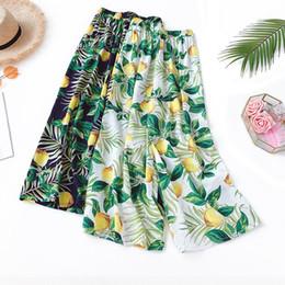 Cotton Linen Trousers Women Australia - 2019 New Summer Women Floral Print Pants Pleated Bohemian High Waist Beach Wide Leg Pants Female Casual Cotton Linen Trousers