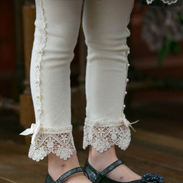 Gray Cotton Leggings Australia - kids designer clothes girls Leggings lace bows Kids Leggings Tights Cotton Girls Trouser Girls Tights girl clothes Children pants A3452