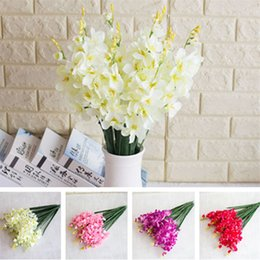 "Fake Orchid Flowers Australia - Fake Short Stem Canglan (2 stems piece) 24.41"" Length Simulation Orchid for Home Decorative Artificial Flowers"