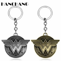 $enCountryForm.capitalKeyWord UK - DC Comic Jewelry Superhero Wonder Woman W Wings Logo Pendant Keychains Mens Movie Jewelry Car key Chain Keyrings