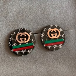 Wholesale High quality rose gold black red green line letter round Stud earrings For Men Women factory