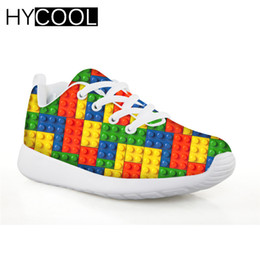 Block Mesh Australia - HYCOOL Children Sneakers for Girls 3D Building Blocks Printing Colorful Football Shoes Kids Lightweight Boys Sport Running Shoes
