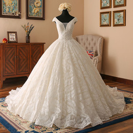 $enCountryForm.capitalKeyWord Australia - 2019 Newest Cap Sleeves Ivory Lace Ball Gown Wedding Dress Pregnant Lace Appliques Plus Size Custom Made Bridal Gowns