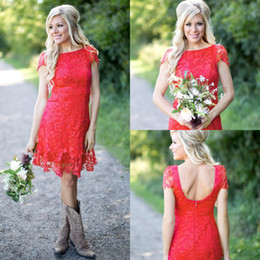 $enCountryForm.capitalKeyWord NZ - Short Mini Bridesmaid Dresses Cheap Country Jewel Neck Red Full Lace A Line Cap Sleeves Backless Wedding Guest Maid of Honor Gowns