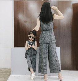 O Legs Belt Australia - Mommy and daughter matching outfits girls lace-up Bows belt vest tops+wide-legged pants 2pcs sets baby girl cotton clothes F7369