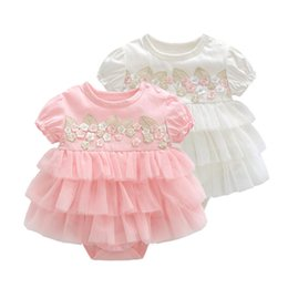 Girl Toddlers Australia - Lawadka Floral Infant Baby Girl Bodysuits Summer Style Bodysuit For Toddlers Lace Newborn 1st Birthday Party Clothes Y19061201