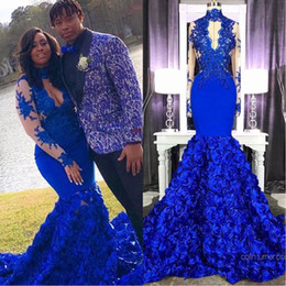 $enCountryForm.capitalKeyWord Australia - Sexy Royal Blue High Neck Lace Appliques Prom Dresses Long 2019 3D Rose Floral Mermaid Long Evening Gowns African Flowers Bottom Party Gowns