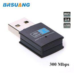 $enCountryForm.capitalKeyWord Australia - 50pcs lot BRSUANG 300Mbps LAN Network Card Adapter Wireless USB2.0 WiFi Receiver For Desktop Laptop PC Smartphone Table Projectr