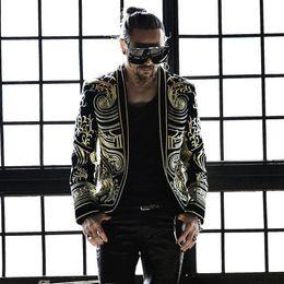 $enCountryForm.capitalKeyWord Australia - 2018 Plus Size Korean Version Slim Men Jacket Complicated Embroidery Black Coat Bar Nightclub HOST Men Singer Outfit