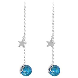 Wholesale Japan and South Korea S925 sterling silver earring female style sea eyes creative glass ball blue sand stone pentacle