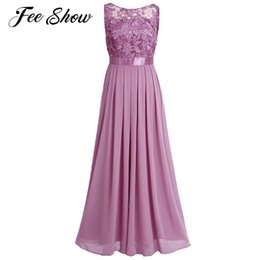 $enCountryForm.capitalKeyWord Australia - Women Sleeveless Maxi Chiffon Embroidered Dress Vestido De Festa Longo Formal Long Dress for Wedding Party Women Dress Prom Gown T190610