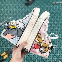 Discount cartoon laces - 2019 designer shoes cartoon Star 1970s Hi Tom & Jerry Canvas shoes Men Women Shoes Fashion plimsolls 164841C