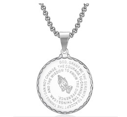 white gold coins NZ - 2019 New Unisex 29mm Pendant Necklaces Vintage Mens Gold Link Chain Titanium Steel Round Coin Scripture Necklaces Jewelry Gift