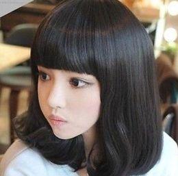BoBo hair wigs online shopping - WIG B110 Hot heat resistant Party hair gt gt Ladies Medium CURLY Hair Full Wigs Cosplay Bobo Style Bangs Wig