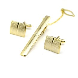 branded tie clip NZ - Brand necktie tie clips & cufflinks set gold color cuff button men wedding cuff link Cuff Buttons Tie Pin drop ship