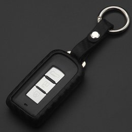 $enCountryForm.capitalKeyWord Australia - jingyuqin Carbon Fiber Pattern Sile Key Case Keychain Case Bag For Mitsubishi Outlander Lancer 10 Pajero Sport Asx Rvr l200