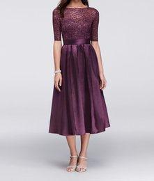 $enCountryForm.capitalKeyWord NZ - Simple A-Line Grape Lace Mother of the Bride Dresses 2019 Cheap Tea- Length Mother's Dress With Sleeves Bateau Neck Wedding Guest Gowns