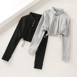 Wholesale gray button shirt resale online – Autumn Women Casual Gray Short Top T Shirts Long Sleeve Female Black Front Buttons Crop Tops Loose Cotton Tee Jumpers