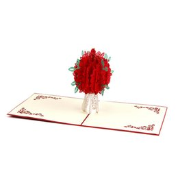 mothers days cards Australia - Red Rose 3D Popping Greeting Card with Envelope for Mothers Day Valentine Day 66CY