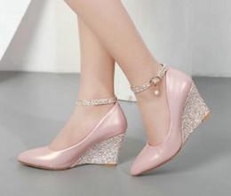 $enCountryForm.capitalKeyWord Australia - Black Pink White Wedge Shoes for Women Wedges High Heeled Ankle Strap Pumps Pointed Toe Elegant Wedding Shoes Ladies 2019