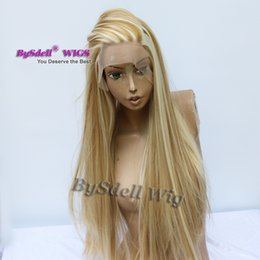 Chinese  New Arrival piano color hair wig synthetic two tone blonde colored hair 27# &613# color lace front wigs for black white women manufacturers
