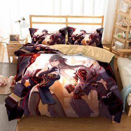 "twins for sale UK - Korea""s Cotton Anime 3D Print Bedding Set Naruto One Piece Bed Linen Set for Girls Boys Hot Sale Duvet Cover Set Twin Full Queen"