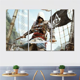 $enCountryForm.capitalKeyWord UK - 3 sets flower art pictures painting assassins creed black flag modern canvas picture home wall decor