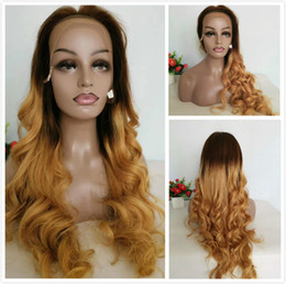 Discount blonde braids - Honey Blonde Ombre Human Hair Wigs Color T1B 27 Wavy Braided Lace Front Wig For Black Women Blonde Loose Wave Brazilian