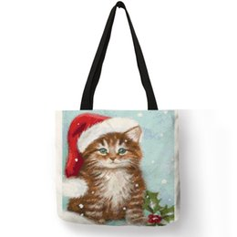 $enCountryForm.capitalKeyWord Australia - Lovely Animal Painting Women Handbag Christmas Hatted Dog Cats Eco Linen Good Quality Pretty Decoration Tote Bag Daily Use