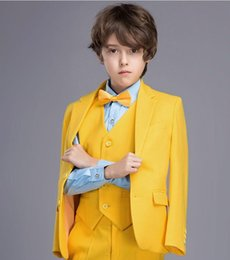 Formal vest boys online shopping - Yellow Boys Formal OccasionTuxedos Notch Lapel Two Button Kids Wedding Tuxedos Child Suit Holiday clothes Jacket Pants Tie Vest