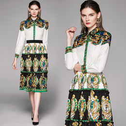 Discount long printed skirts shirt Luxury Designer Two Pieces Sets Women Barocco Print Shirt+ Mini Skirt Suit Fashion Plus Size Sexy Party Prom Elegant Lad