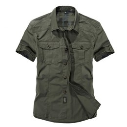 military short sleeve cotton shirt Australia - Casual dress shirt men slim fit Military style army green male for boys khaki mens short sleeve cotton designer Breathable Brand T190918