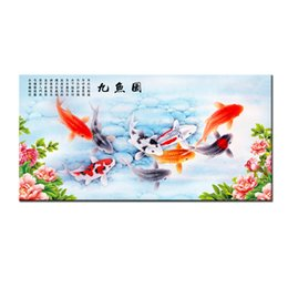 Fish Figures Australia - Gifts Hot series Modern Wall Art China's Wind Feng Shui Koi Fish Painting Picture printed On Canvas office Living Room Home Decor BFS4004
