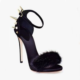 $enCountryForm.capitalKeyWord NZ - Hot Selling Women Solid Pink Black Ankle Buckle Strap Sandals Fashion Fur Gold Rivets Decoration High Thin Heel Party Shoes