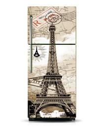 Eiffel Tower Decal Stickers For Wall NZ - Custom DIY Dishwasher Refrigerator Freeze Fridge Sticker Pairs Eiffel Tower For Kitchen Decoration Art Fridge Door Cover Wallpaper