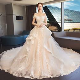 323a9afc57ca Mingli Tengda Sexy Boat Neck Wedding Dress Elegant Appliques Pearls Floor  Length Princess Ball Gowns Wedding Dresses vestido de noiva