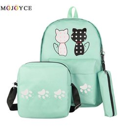 Style Prints Australia - 3 Pcs set Women Backpack Cat Printing Canvas School Bags For Teenager Girls Preppy Style Rucksack Cute Pencil Case Bolsos Mujer