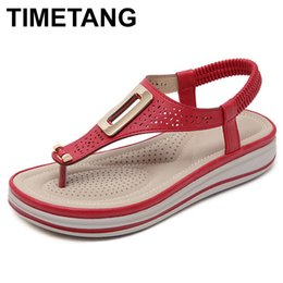 $enCountryForm.capitalKeyWord Canada - Timetangsummer Platform Flip Flops Women Solid Color Beach Sandals Soft Leather Comfortable Low Heels Flats Shoes Metal Big Size Y19070103