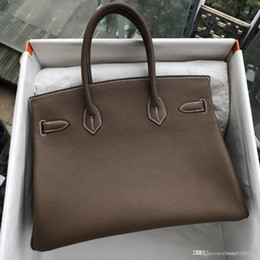 Ivory Hand Bags NZ - TOTE Classic Hand Stitching Authentic top gray handbags TOGO Top GENUINE LEATHER BK 35cm classic 100% hand-made platinum genuine h bags